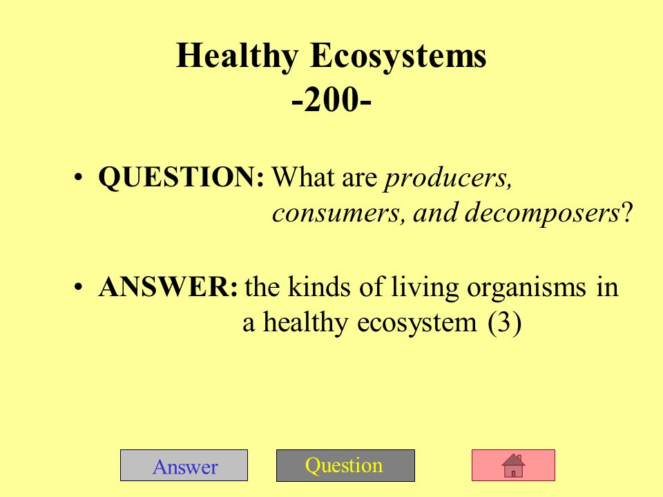 Answer Question Healthy Ecosystems -100- QUESTION: What is the sun » What is sunlight ANSWER: the energy source on which everything in a healthy land or freshwater ecosystem depends