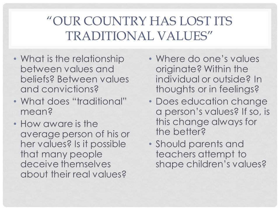 """OUR COUNTRY HAS LOST ITS TRADITIONAL VALUES"" What is the relationship between values and beliefs? Between values and convictions? What does ""traditio"