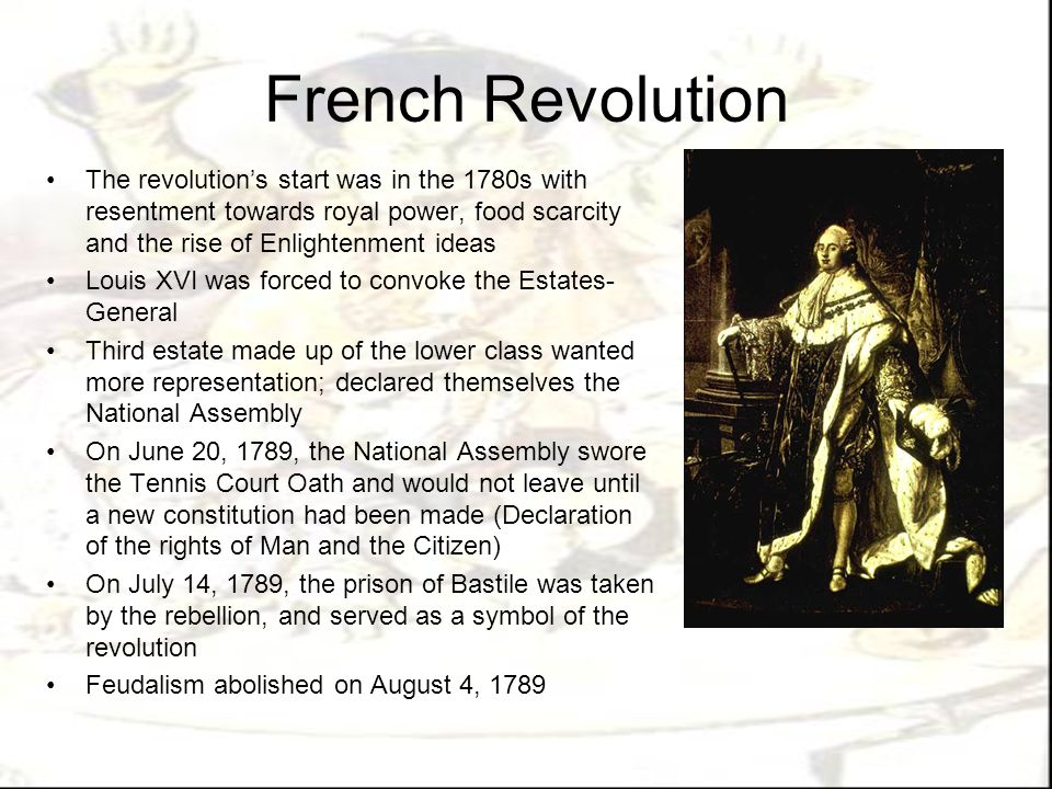 French Revolution Radical phase started by 1792; led by Maximilien Robespierre King was executed and the Reign of Terror occurred in which unpopular factions were destroyed Constitution proclaimed male suffrage, slavery temporaraliy abolished and spirit of nationalism Final phase of revolution occurred under Napoleon from 1799 to 1815 during which expansion of the French empire occurred Parliament reduced in power, but religious freedom, equality for men, education, were promoted