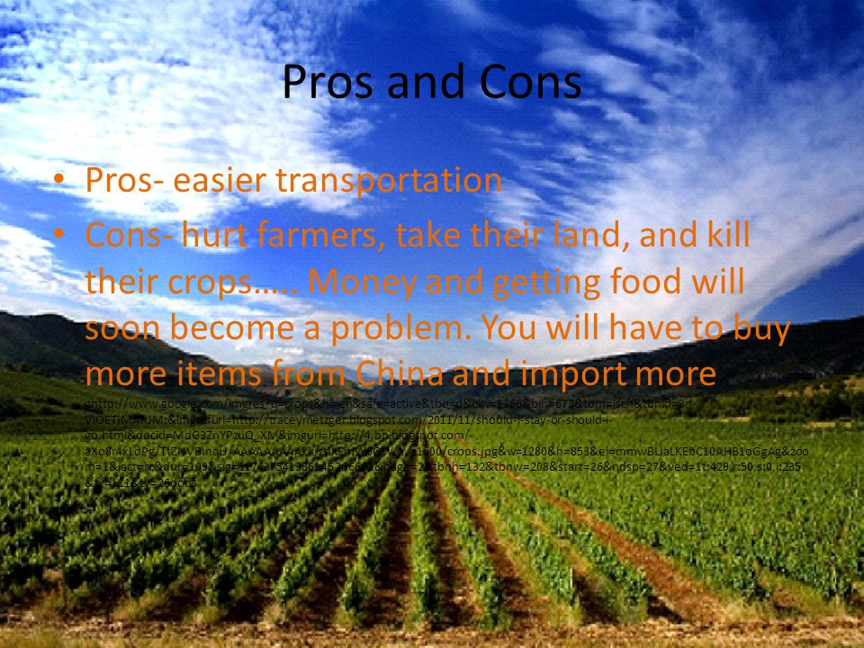 Pros and Cons Pros- easier transportation Cons- hurt farmers, take their land, and kill their crops…..