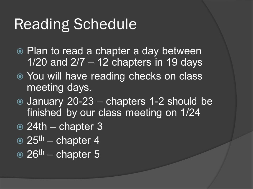 Reading Schedule  Plan to read a chapter a day between 1/20 and 2/7 – 12 chapters in 19 days  You will have reading checks on class meeting days.