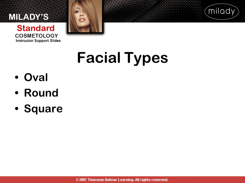 MILADY'S Standard Instructor Support Slides COSMETOLOGY Facial Types Oval Round Square