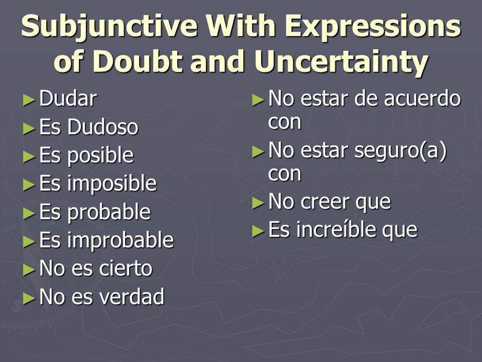 Subjunctive With Expressions of Doubt and Uncertainty ► Dudar ► Es Dudoso ► Es posible ► Es imposible ► Es probable ► Es improbable ► No es cierto ► N