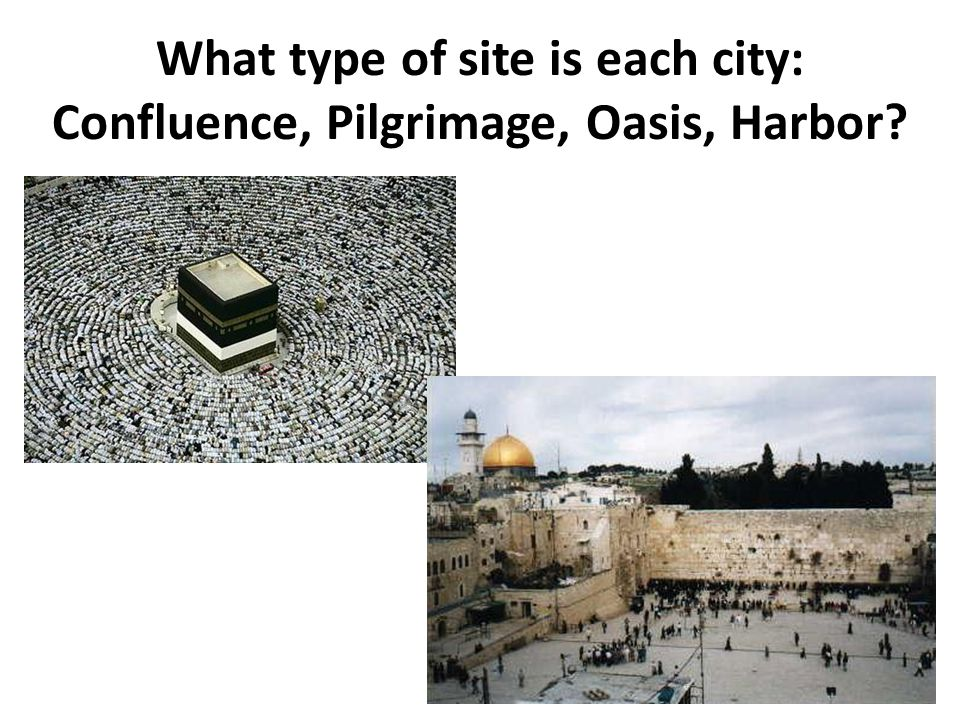 What type of site is this city: Confluence, Pilgrimage, Oasis, Harbor?