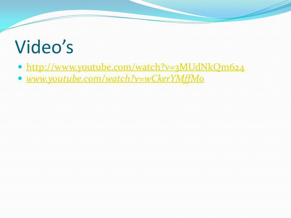 Video's http://www.youtube.com/watch?v=3MUdNkQm624 www.youtube.com/watch?v=wCkerYMffMo