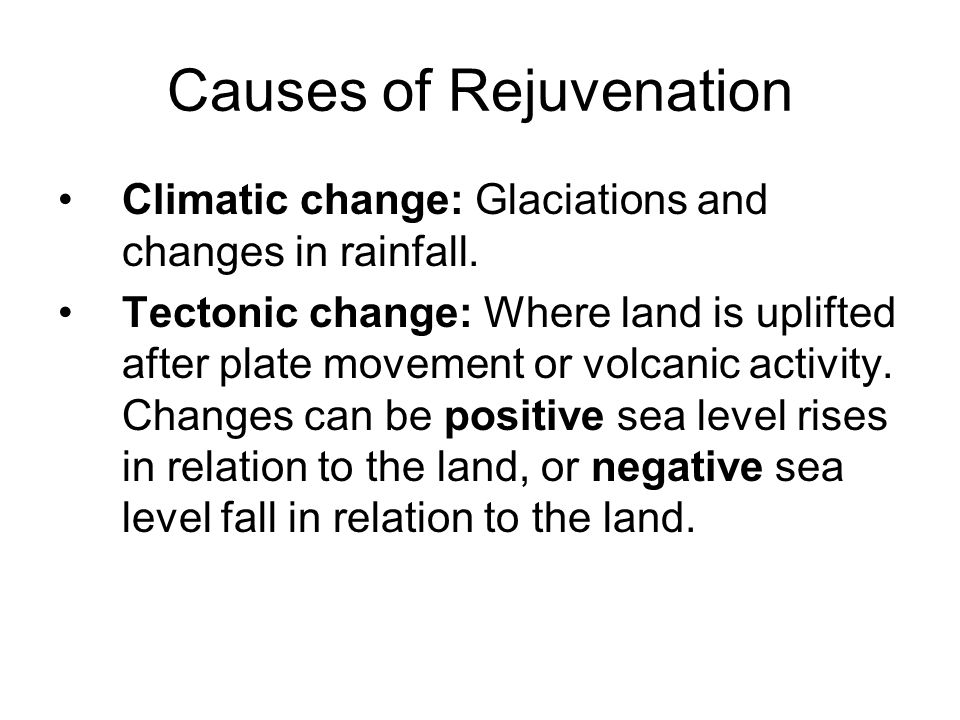 Causes of Rejuvenation Climatic change: Glaciations and changes in rainfall. Tectonic change: Where land is uplifted after plate movement or volcanic