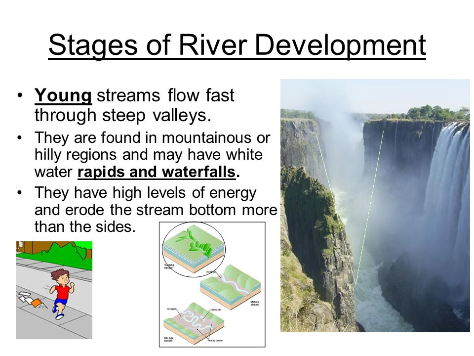 Stages of River Development Young streams flow fast through steep valleys. They are found in mountainous or hilly regions and may have white water rap