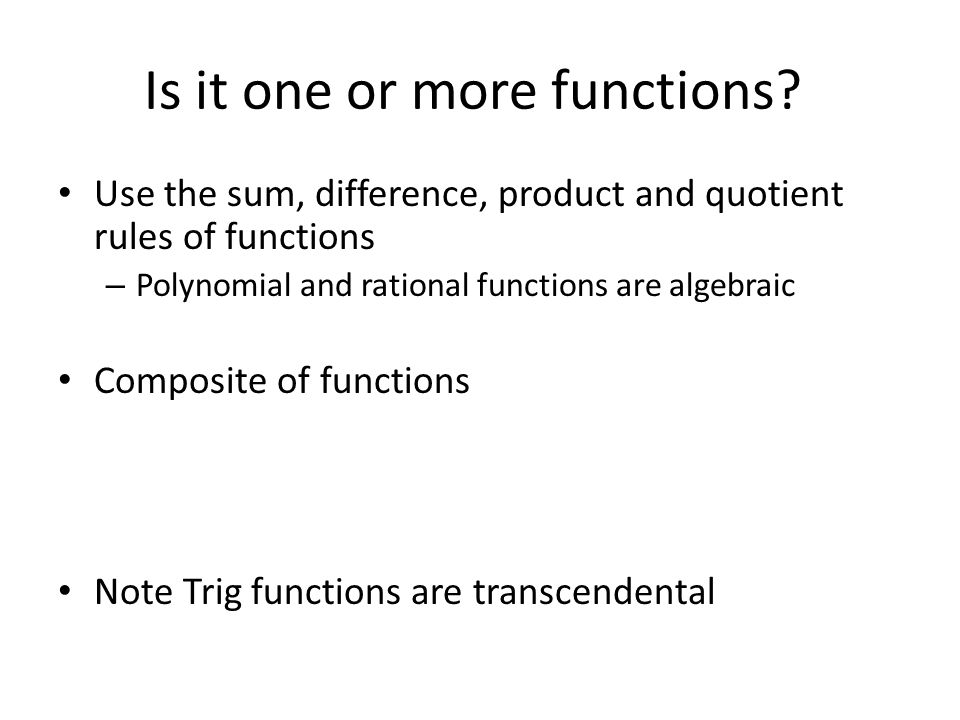 Is it one or more functions.