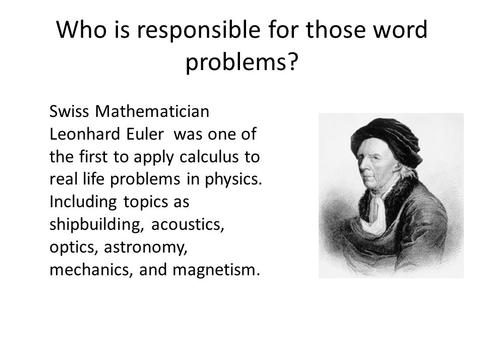 Who is responsible for those word problems.