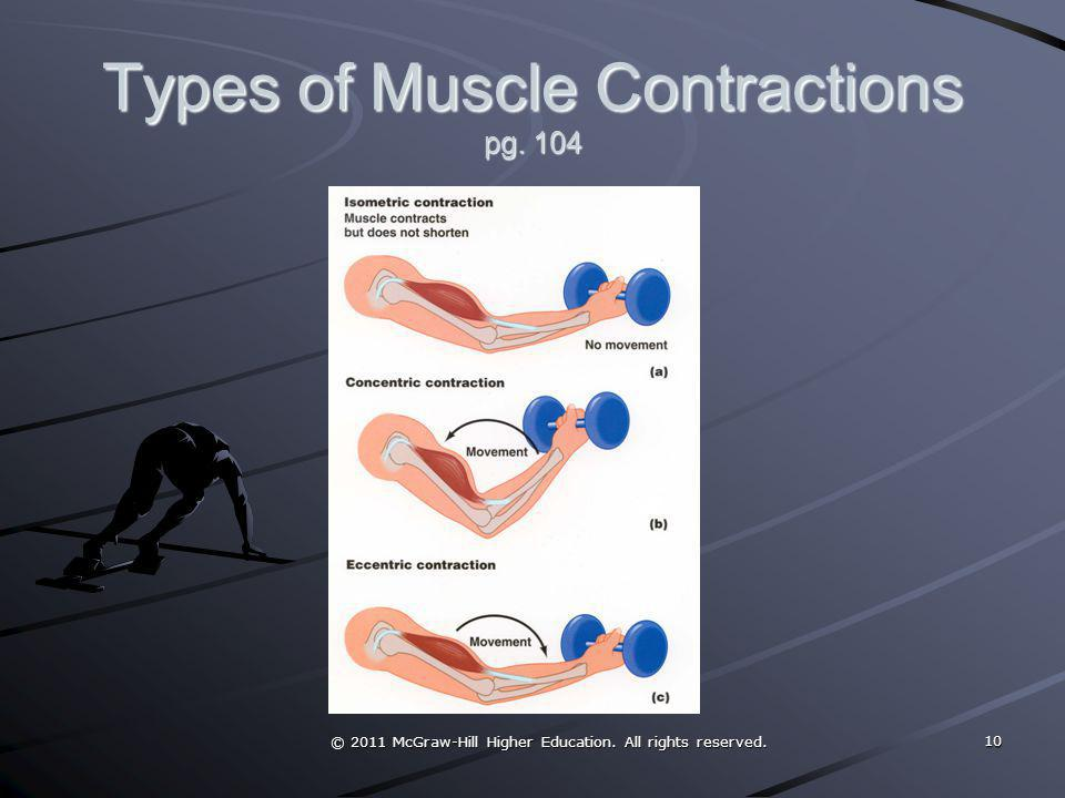 Types of Muscle Contractions pg. 104 © 2011 McGraw-Hill Higher Education. All rights reserved. 10