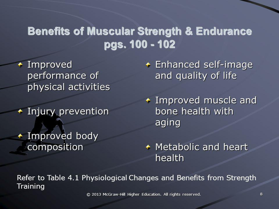 © 2013 McGraw-Hill Higher Education. All rights reserved. Benefits of Muscular Strength & Endurance pgs. 100 - 102 Improved performance of physical ac