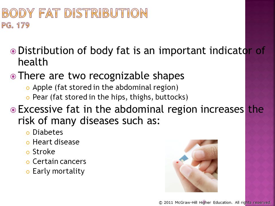 © 2011 McGraw-Hill Higher Education. All rights reserved. Location of fat is important to health