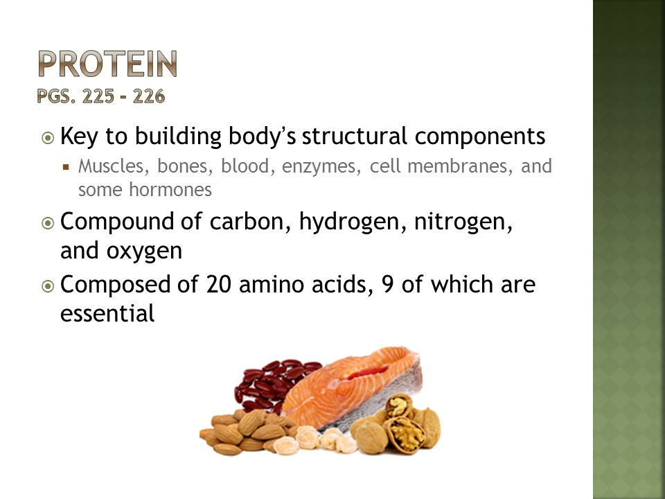  Key to building body's structural components  Muscles, bones, blood, enzymes, cell membranes, and some hormones  Compound of carbon, hydrogen, nit