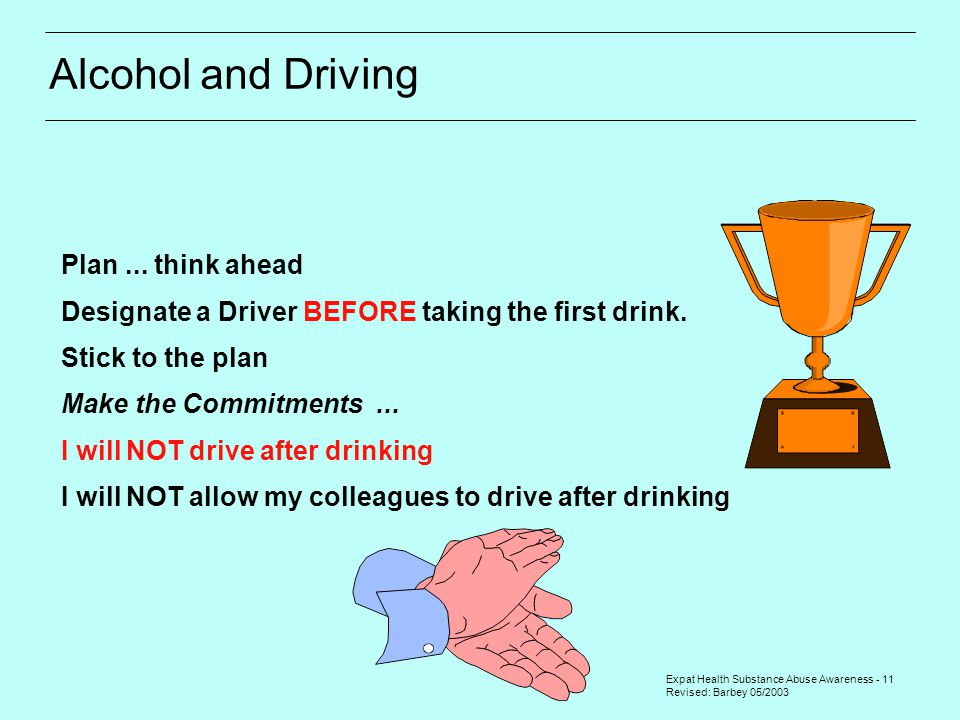 Expat Health Substance Abuse Awareness - 11 Revised: Barbey 05/2003 Plan... think ahead Designate a Driver BEFORE taking the first drink. Stick to the