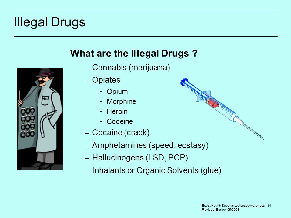 Expat Health Substance Abuse Awareness - 14 Revised: Barbey 05/2003 Illegal Drugs What are the Illegal Drugs ?  Cannabis (marijuana)  Opiates Opium