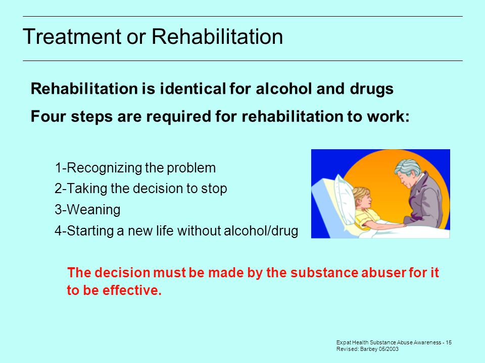 Expat Health Substance Abuse Awareness - 15 Revised: Barbey 05/2003 Treatment or Rehabilitation Rehabilitation is identical for alcohol and drugs Four steps are required for rehabilitation to work: 1-Recognizing the problem 2-Taking the decision to stop 3-Weaning 4-Starting a new life without alcohol/drug  The decision must be made by the substance abuser for it to be effective.