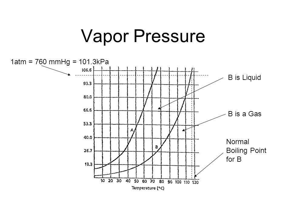 Vapor Pressure 1atm = 760 mmHg = 101.3kPa B is a Gas B is Liquid Normal Boiling Point for B