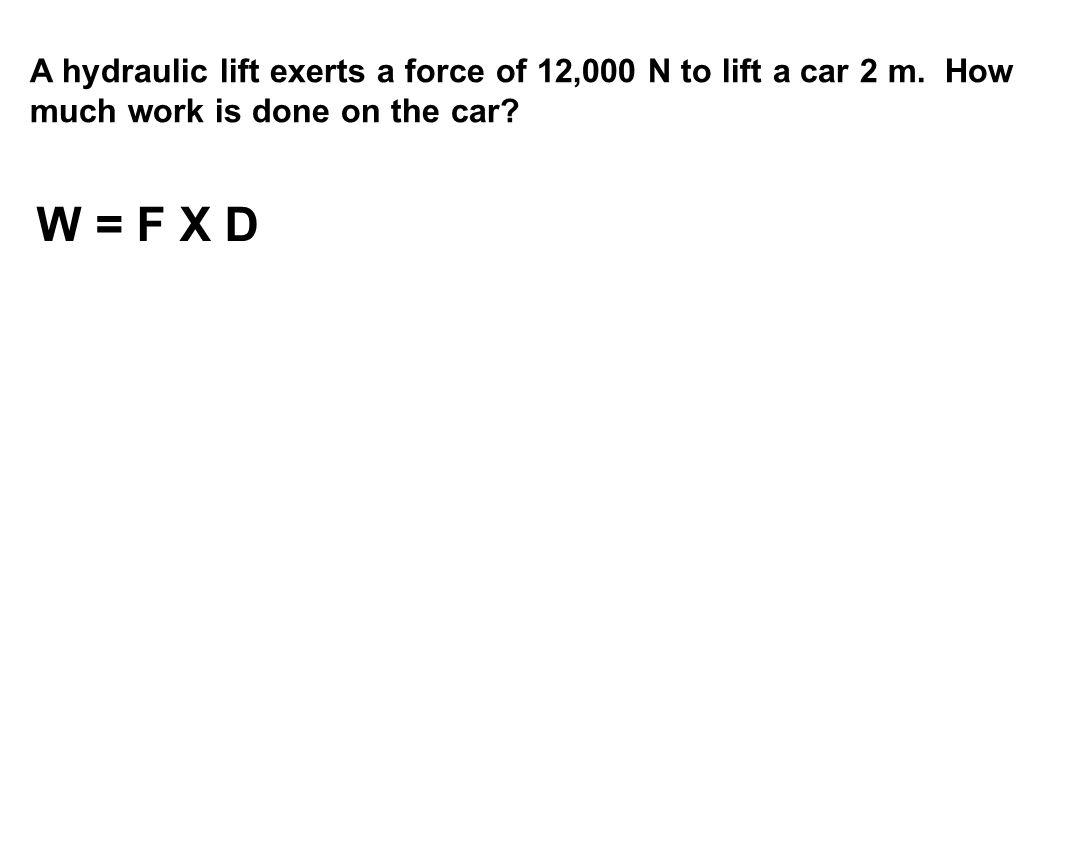 W = F X D