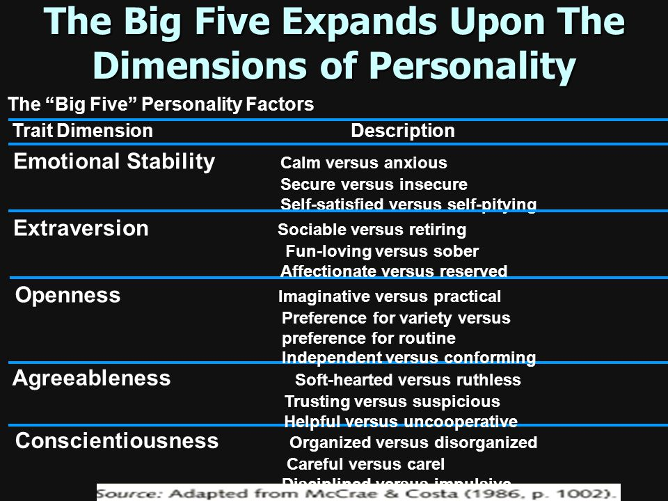 Dimensions of Personality Through factor analysis, the Ensencks identified dimensions of personality were as introverted (keep to yourself)/ extrovert
