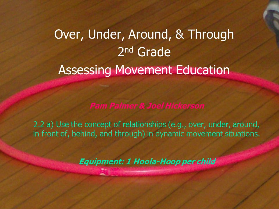 Pam Palmer & Joel Hickerson 2.2 a) Use the concept of relationships (e.g., over, under, around, in front of, behind, and through) in dynamic movement situations.