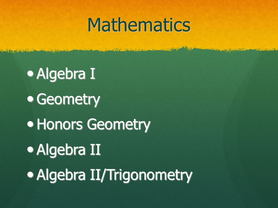 Mathematics Algebra I Algebra I Geometry Geometry Honors Geometry Honors Geometry Algebra II Algebra II Algebra II/Trigonometry Algebra II/Trigonometry
