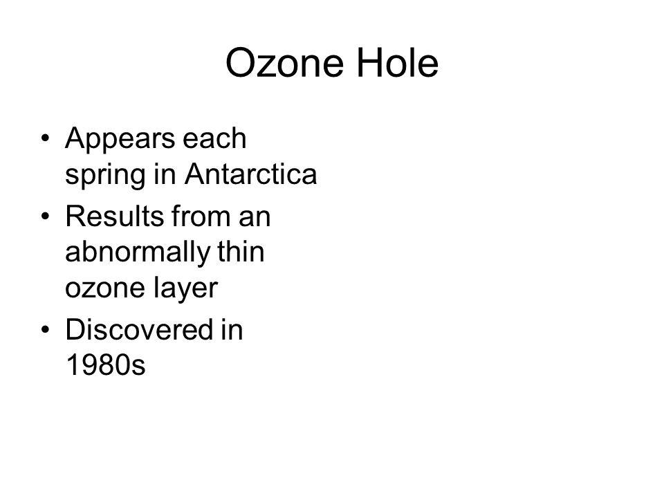 Ozone Hole Appears each spring in Antarctica Results from an abnormally thin ozone layer Discovered in 1980s