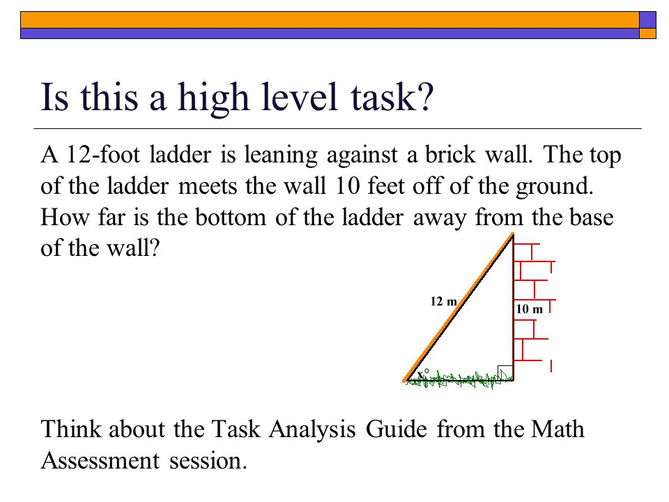 Is this a high level task. A 12-foot ladder is leaning against a brick wall.