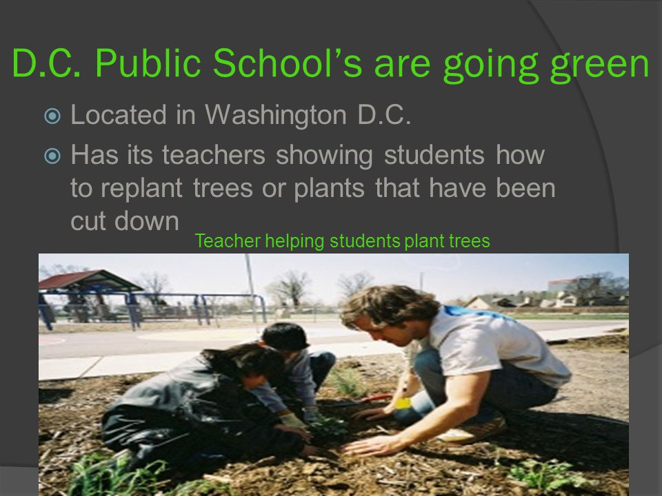 D.C. Public School's are going green  Located in Washington D.C.