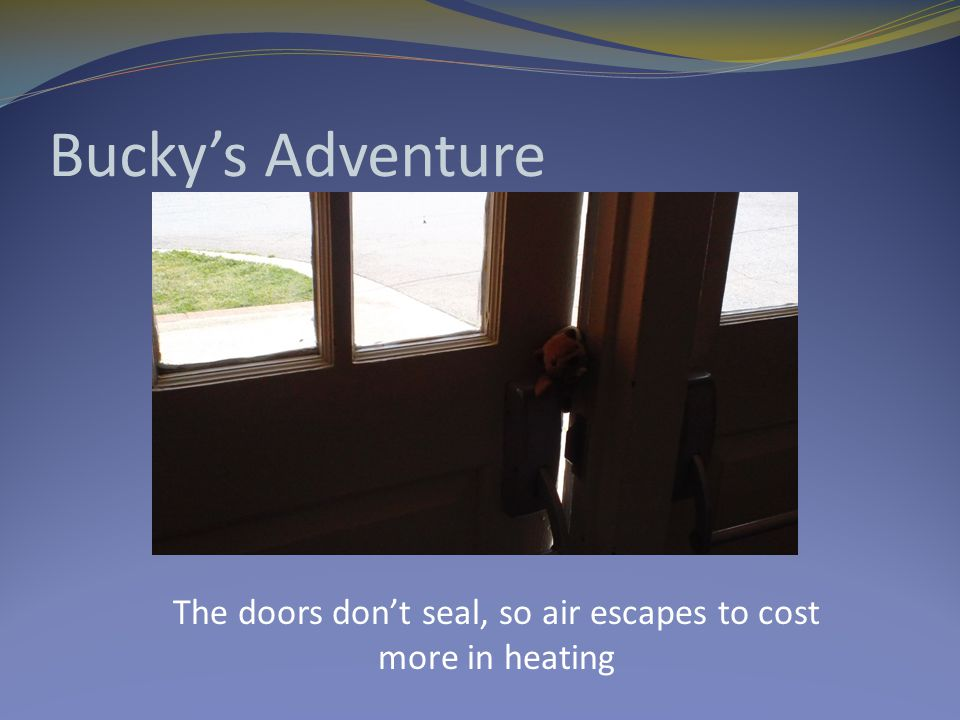 Bucky's Adventure The doors don't seal, so air escapes to cost more in heating
