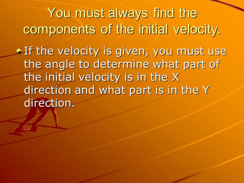 Find V1y and Vx V0y=V0sin Θ (this is the equation for V0y always) Vx=V0 cos Θ These are known as the components of the velocity.