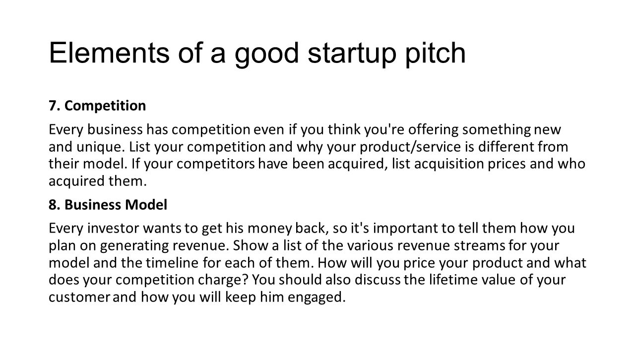 Elements of a good startup pitch 9.
