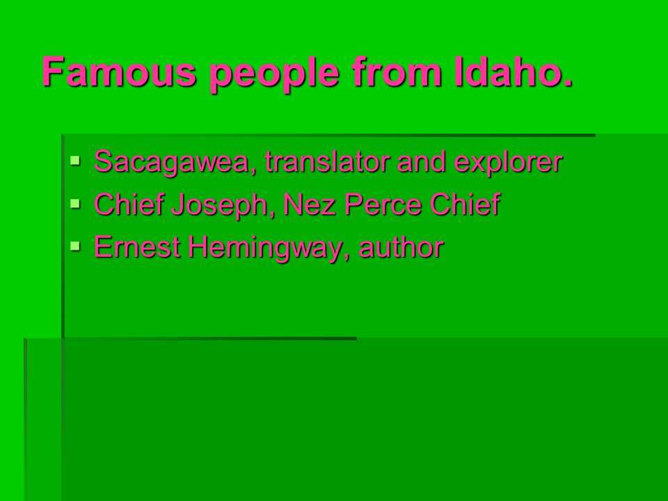 Famous people from Idaho.