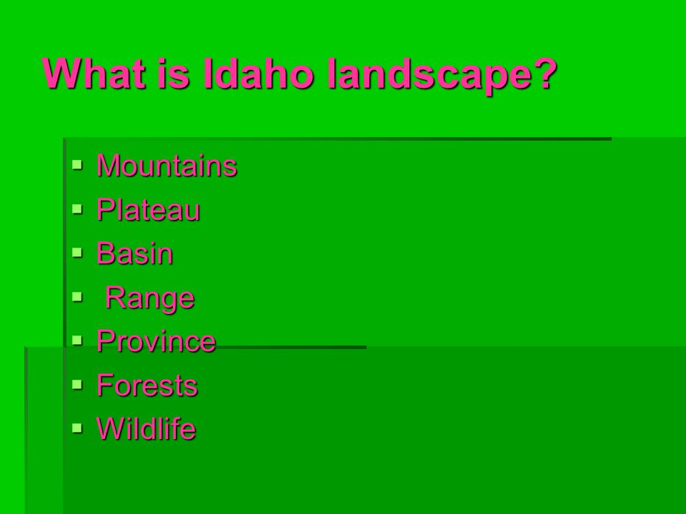 What is Idaho landscape  Mountains  Plateau  Basin  Range  Province  Forests  Wildlife