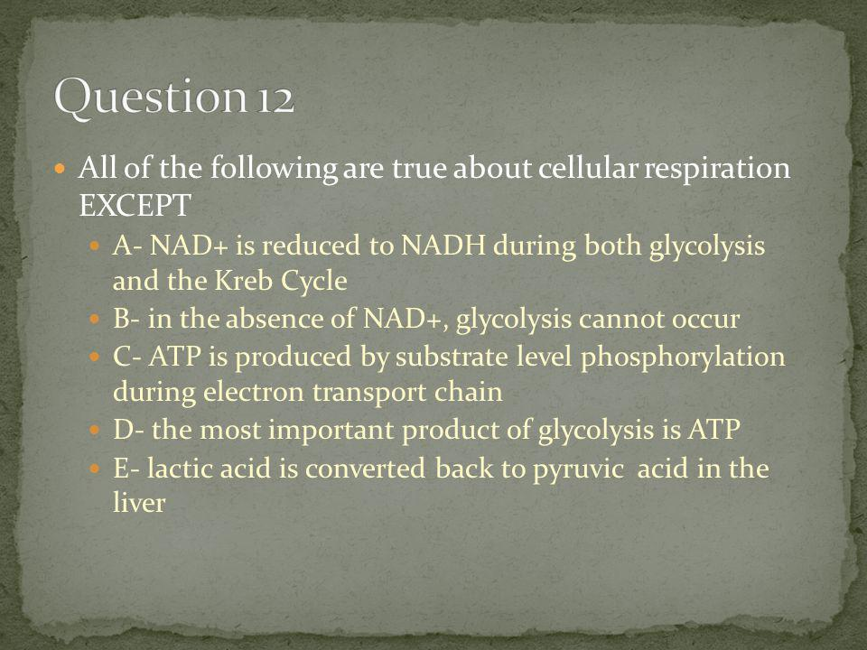 All of the following are true about cellular respiration EXCEPT A- NAD+ is reduced to NADH during both glycolysis and the Kreb Cycle B- in the absence of NAD+, glycolysis cannot occur C- ATP is produced by substrate level phosphorylation during electron transport chain D- the most important product of glycolysis is ATP E- lactic acid is converted back to pyruvic acid in the liver