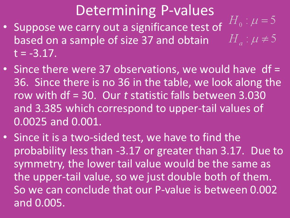 Determining P-values Suppose we carry out a significance test of based on a sample of size 37 and obtain t = -3.17. Since there were 37 observations,