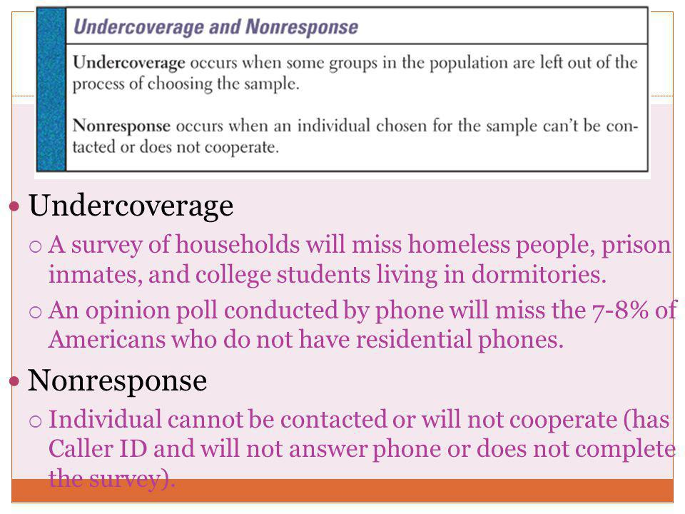 Undercoverage  A survey of households will miss homeless people, prison inmates, and college students living in dormitories.  An opinion poll conduc