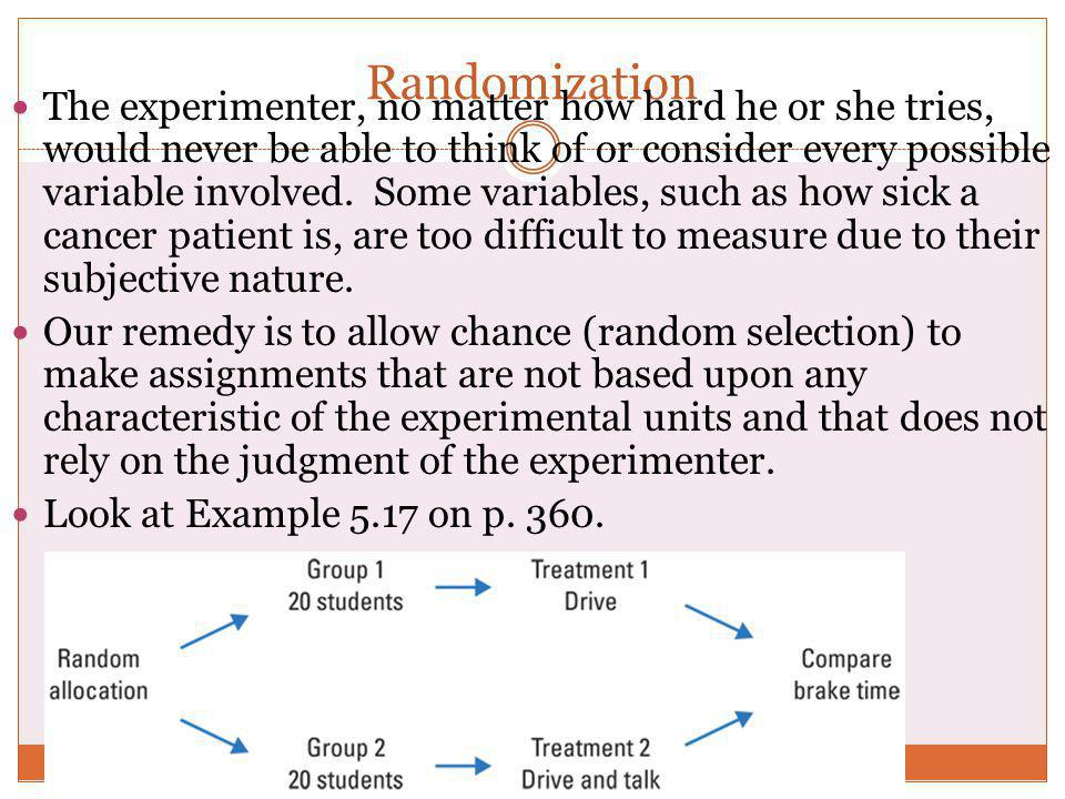 Randomization The experimenter, no matter how hard he or she tries, would never be able to think of or consider every possible variable involved. Some
