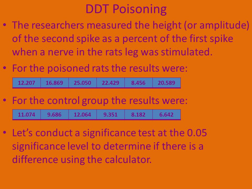DDT Poisoning The researchers measured the height (or amplitude) of the second spike as a percent of the first spike when a nerve in the rats leg was stimulated.