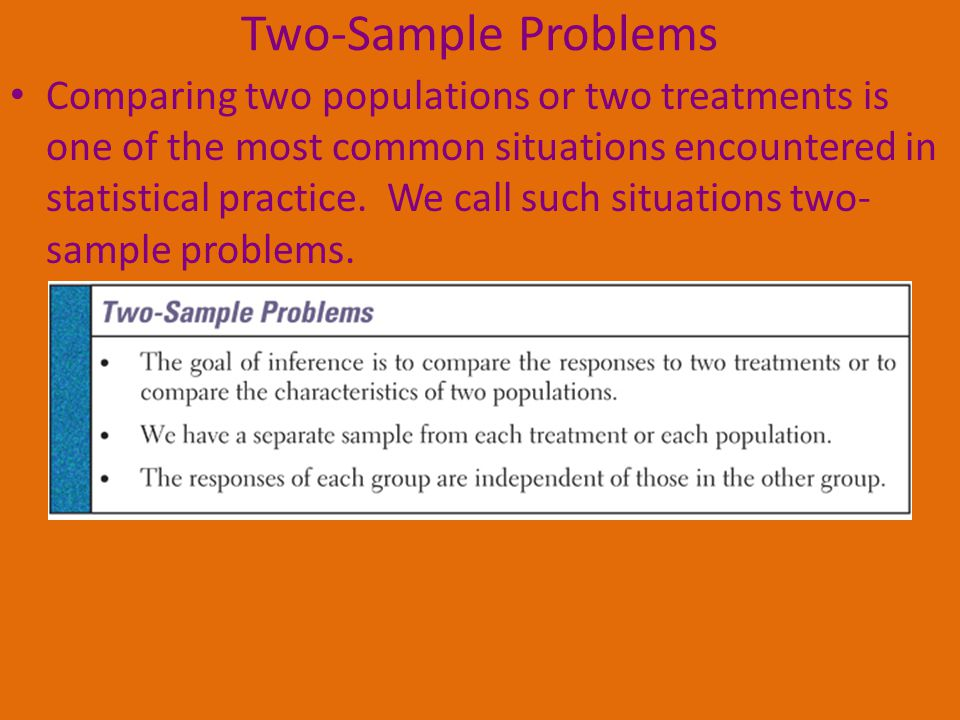Two-Sample Problems Comparing two populations or two treatments is one of the most common situations encountered in statistical practice.
