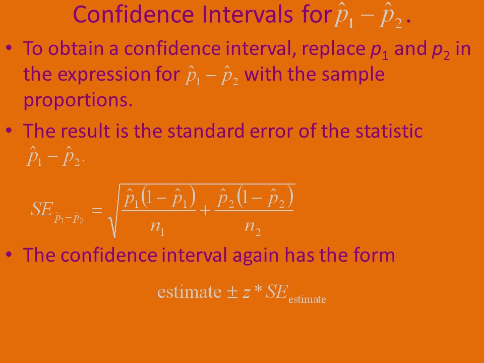 To obtain a confidence interval, replace p 1 and p 2 in the expression for with the sample proportions.