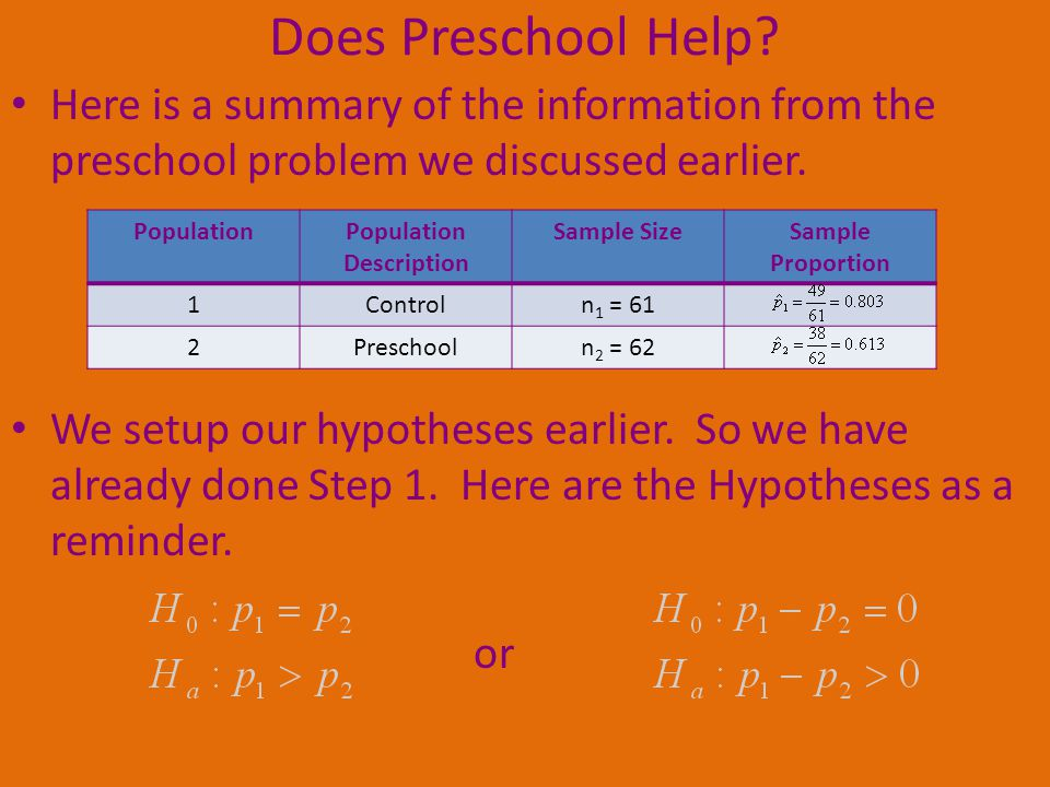 Does Preschool Help? Here is a summary of the information from the preschool problem we discussed earlier. We setup our hypotheses earlier. So we have