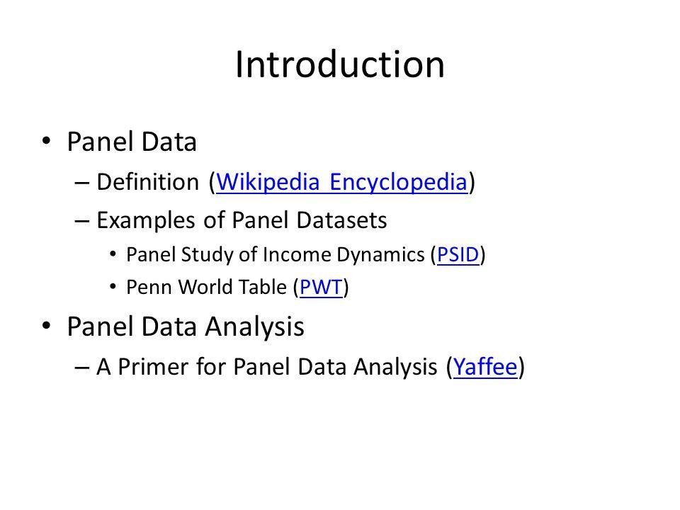 Using Stata Declare Panel Data and Variables – xtset (or tsset) – xttab Panel Data Analysis: xt commands – xtdes – xtsum – xtdata – xtline Panel Data Regression – xtreg