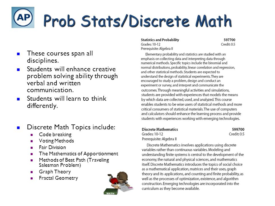 Prob Stats/Discrete Math These courses span all disciplines. These courses span all disciplines. Students will enhance creative problem solving abilit