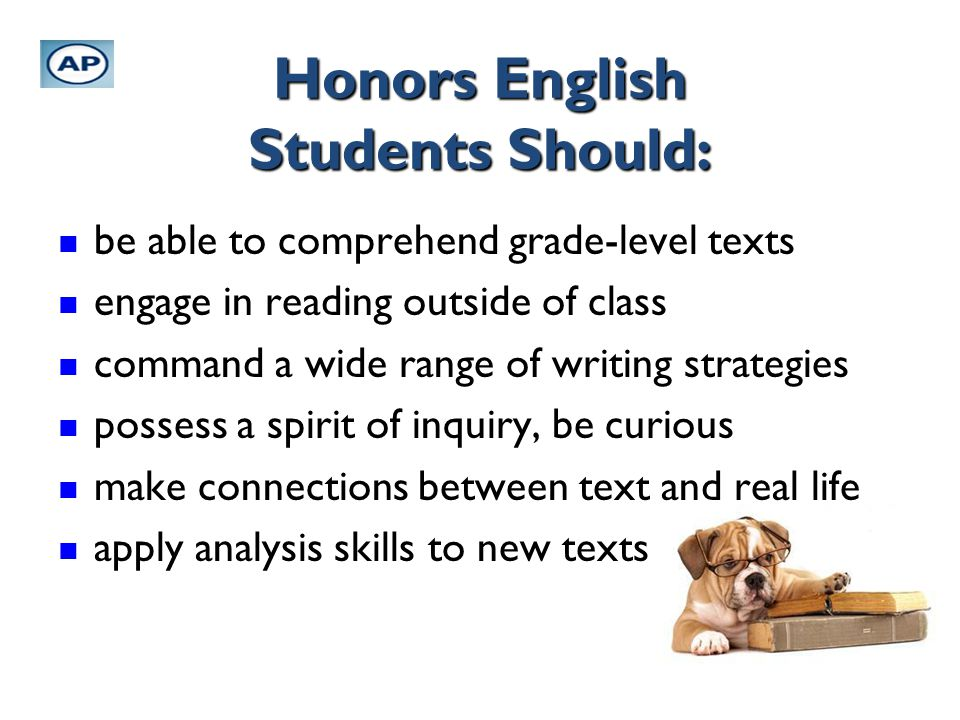 Honors English Students Should: be able to comprehend grade-level texts be able to comprehend grade-level texts engage in reading outside of class eng