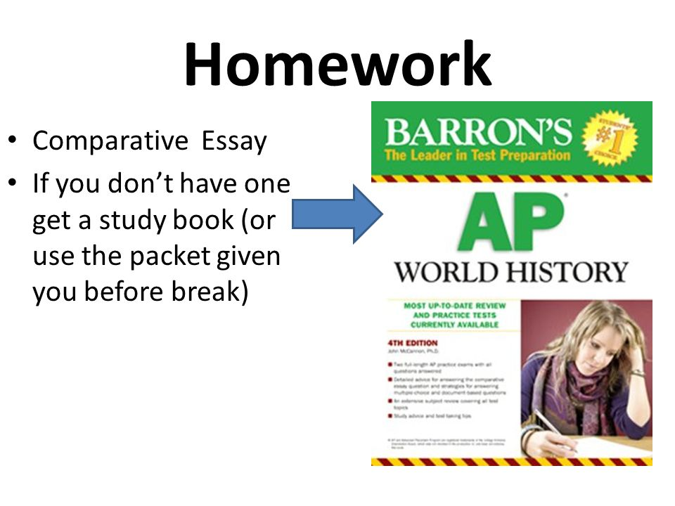 The AP Exam 70 multiple choice questions – 55 minutes 3 essays – 130 minutes (10 minute reading period) – Always in this order: A.DBQ B.CCOT C.Comparative – You don't have to write in that order