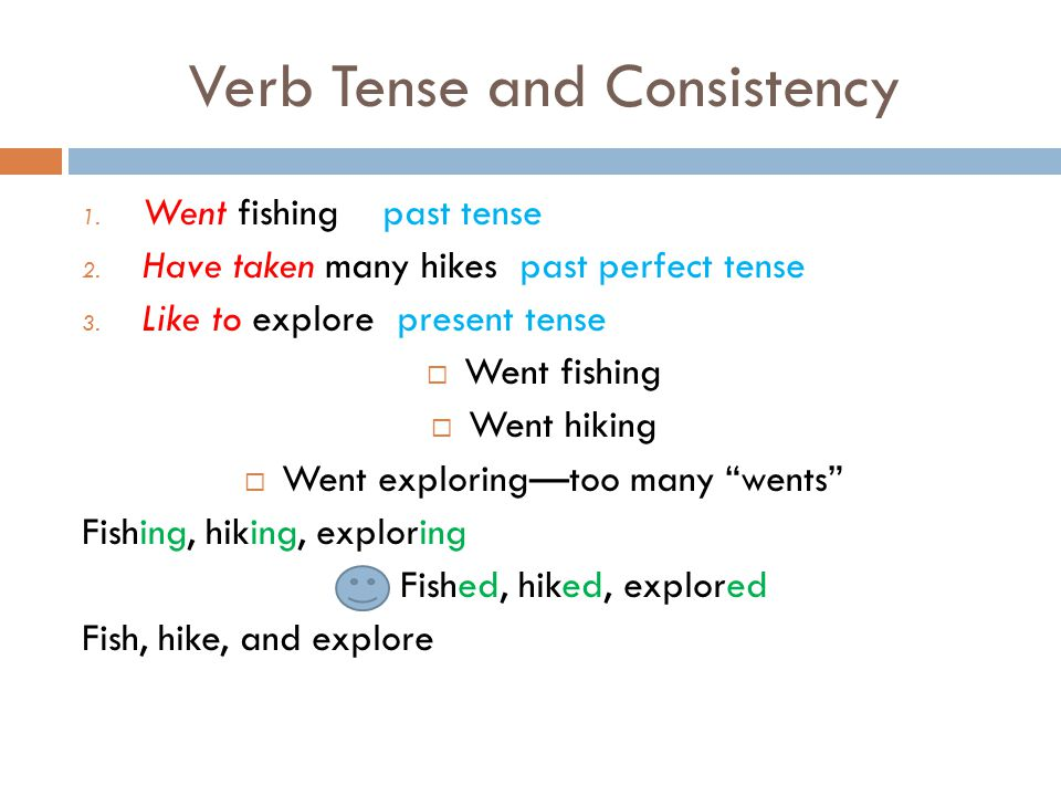 Verb Tense and Consistency 1. Went fishing past tense 2. Have taken many hikes past perfect tense 3. Like to explore present tense  Went fishing  We