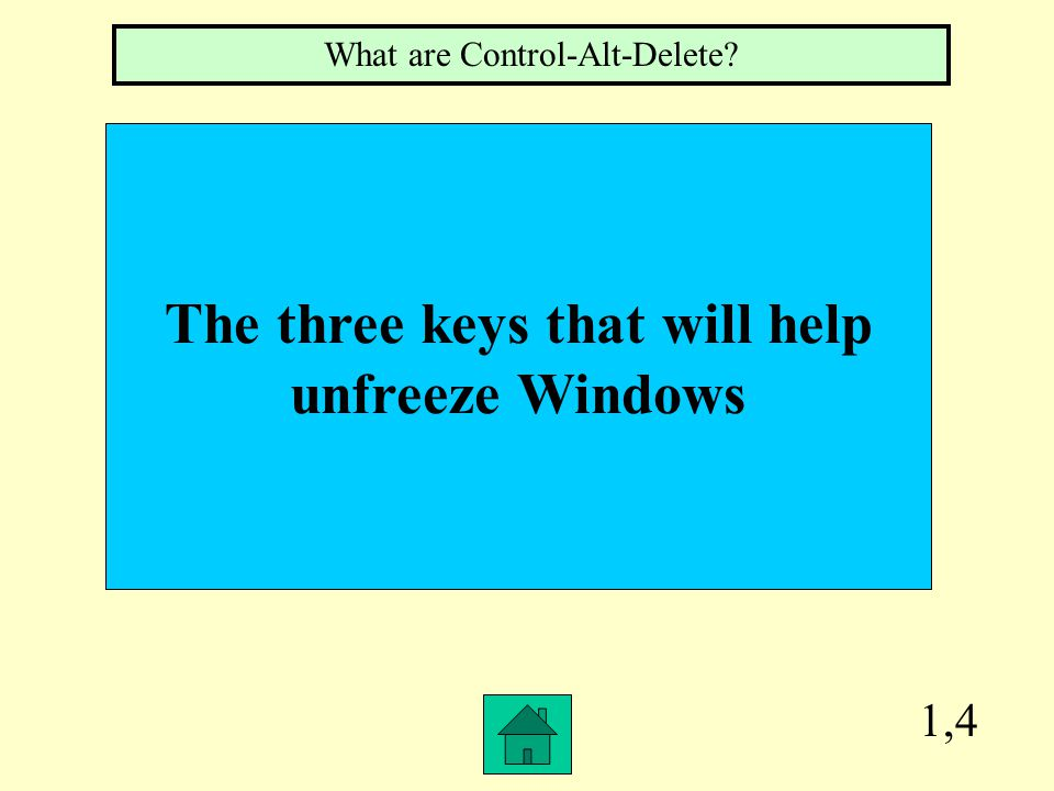 1,4 The three keys that will help unfreeze Windows What are Control-Alt-Delete?