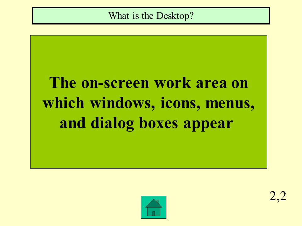 2,2 The on-screen work area on which windows, icons, menus, and dialog boxes appear What is the Desktop?