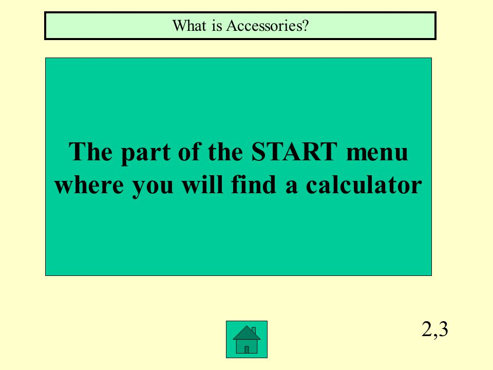 2,3 The part of the START menu where you will find a calculator What is Accessories?