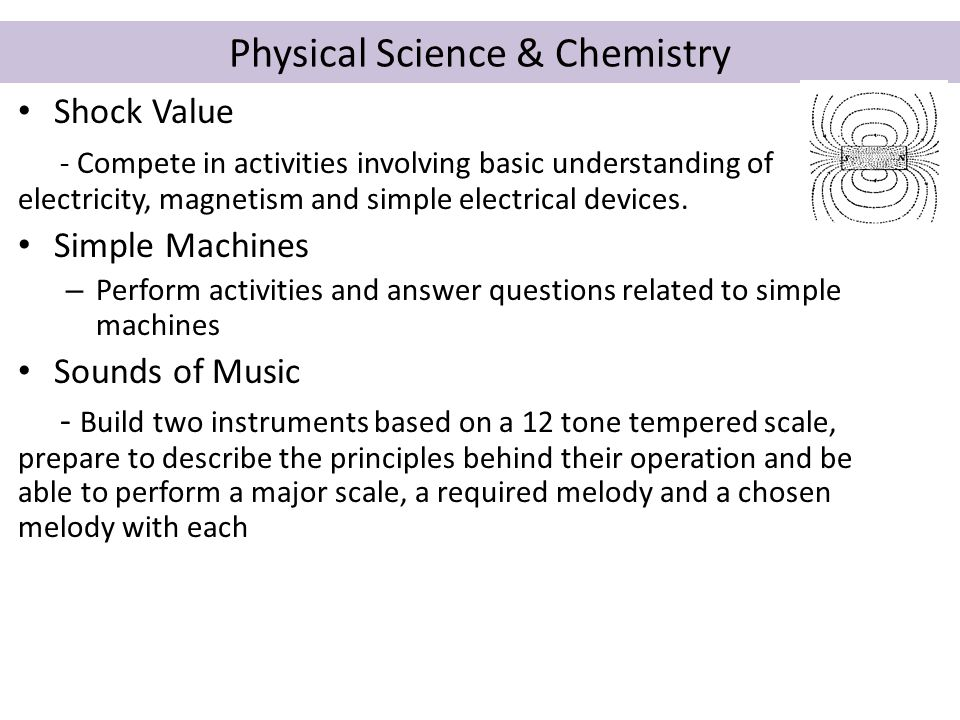 Physical Science & Chemistry Shock Value - Compete in activities involving basic understanding of electricity, magnetism and simple electrical devices.